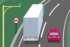 Illustration of a road with a 50mph speed sign and enforcement camera, with a lorry and red car on the road