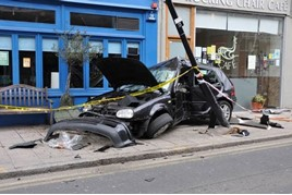 Crashed car in London