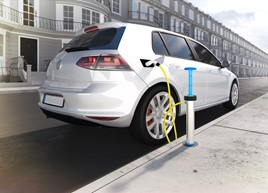 A CGI of a white Volkswagen Golf being charged at a kerbside charging point