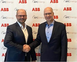 Adam Bond, chief executive officer at AFC Energy and Frank Muehlon, head of ABB's global business for E-mobility Infrastructure Solutions