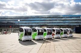 A row of autonomous vehicles
