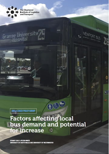 CILT 'Factors affecting local bus demand and potential for increase' report cover