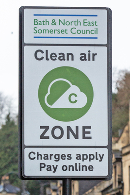 Roadside sign telling motorists they are entering Bath's clean air zone
