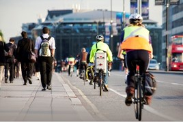 Cyclists and pedestrians in London