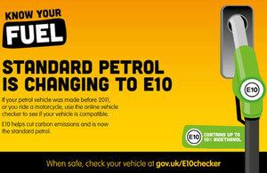 E10 petrol sign