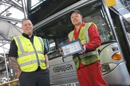 Nottingham bus technicians using Freeway tablet