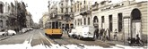 illustration of street of Milano with yellow tram