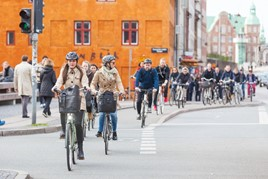 a large group of urban cyclists