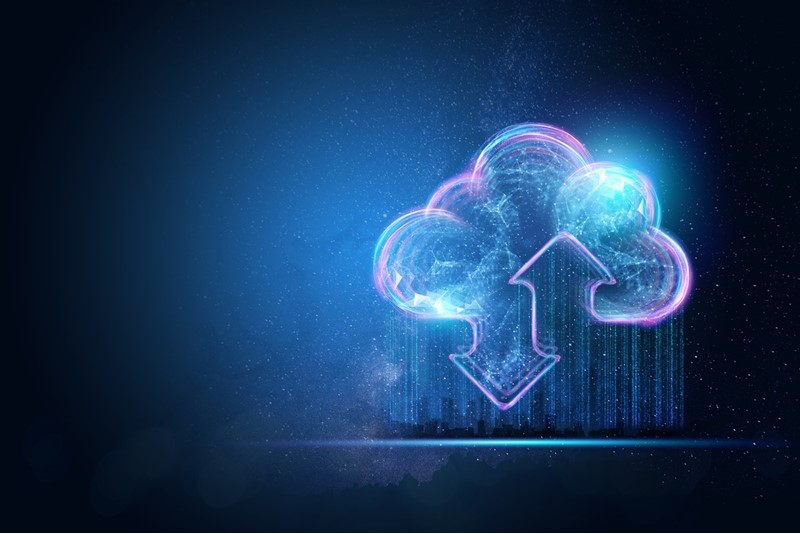 Creative background, the image of the hologram of the cloud, blue background. The concept of cloud technology, cloud storage, a new generation of networks