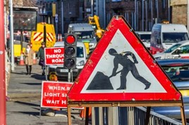 Traffic lights at road works