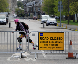 Roller skater on road closed due to Covid-19