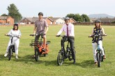 Lee Waters, Welsh deputy minister for climate change on bike and three other cyclists