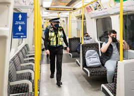 British Transport Police (BTP) officers onboard Tube train