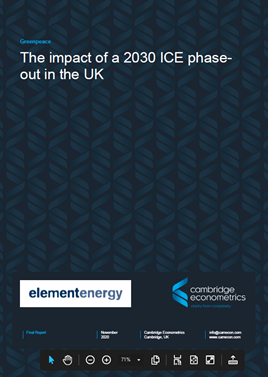 The impact of a 2030 ICE phase-out in the UK report cover