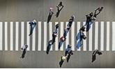 Aerial. Pedestrian crosswalk crossing, top view.